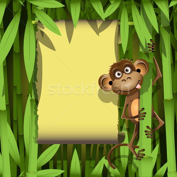 обезьяны иллюстрация коричневый джунгли улыбка природы Сток-фото © brux