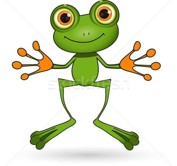 Groene kikker illustratie permanente cute grote ogen Stockfoto © brux