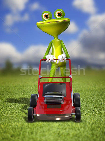 A frog with a frontal mower Stock photo © brux