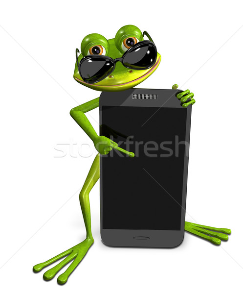frog with a smartphone Stock photo © brux