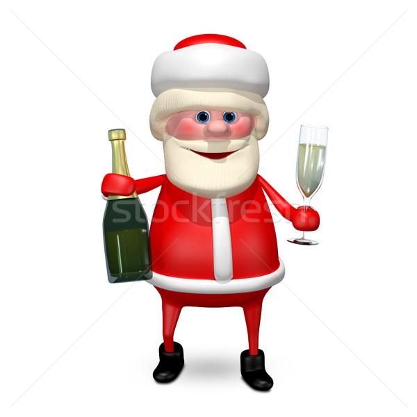 Ilustração 3d papai noel champanhe vidro gelo assinar Foto stock © brux