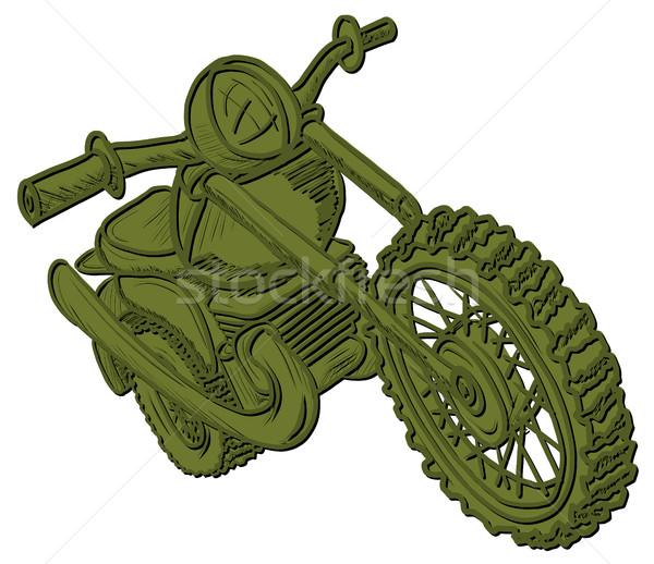 Zöld motorkerékpár illusztráció grafikus rajz fehér Stock fotó © brux