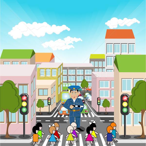 歩行者 実例 町 通り 子供 空 ストックフォト © brux