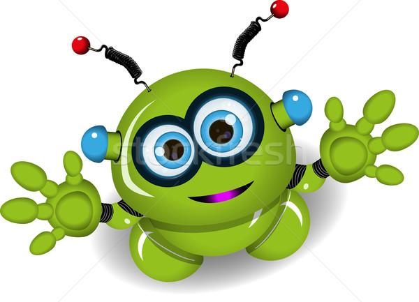 Sevimli yeşil robot örnek Metal oyuncak Stok fotoğraf © brux