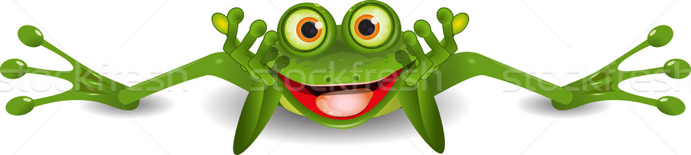 Stock photo: funny frog is on his stomach