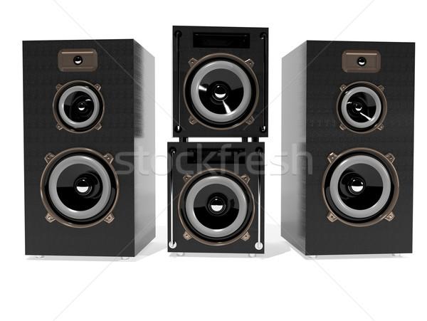 Hoparlörler 3d illustration beyaz parti kutu konuşmacı Stok fotoğraf © brux
