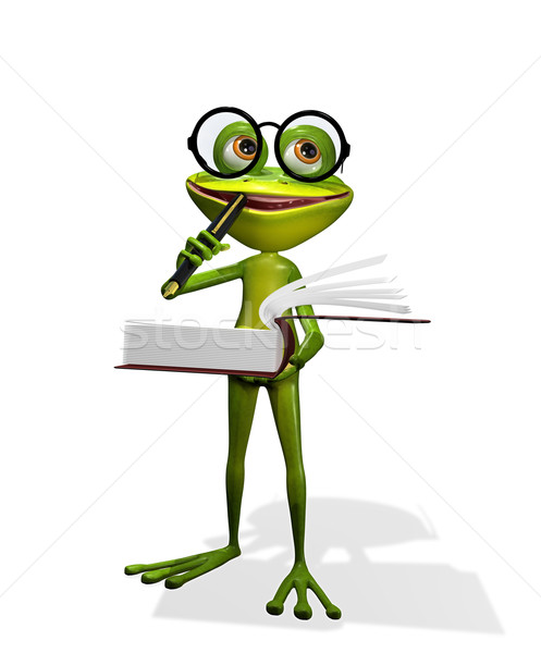 カエル 図書 実例 好奇心の強い 眼鏡 図書 ストックフォト © brux