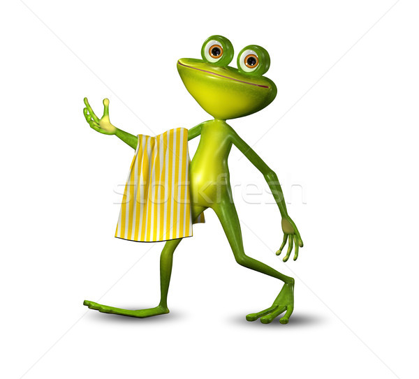 3d Illustration of a Green Frog Walking with a Towel Stock photo © brux
