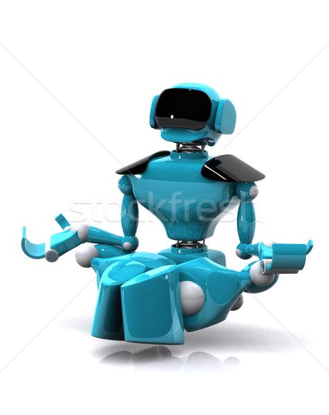 Robot mediteren 3d illustration witte computer technologie Stockfoto © brux