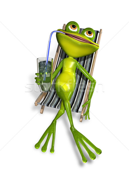 Stock photo: frog in a deckchair