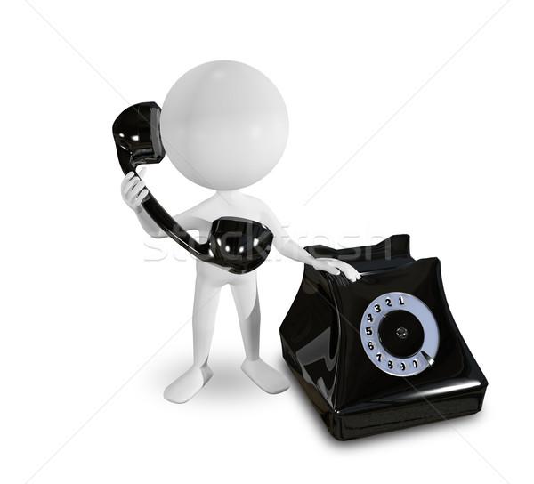 white man on a black telephone Stock photo © brux
