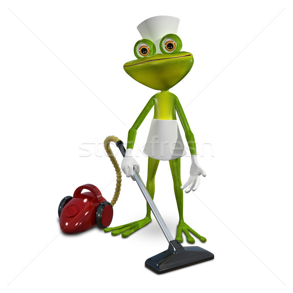 Kikker meid illustratie groene stofzuiger Rood Stockfoto © brux