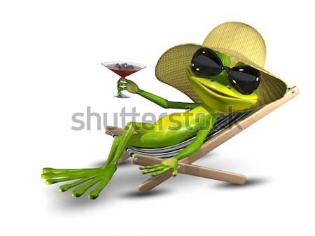 カエル デッキチェア ビーチ 実例 緑 眼 ストックフォト © brux
