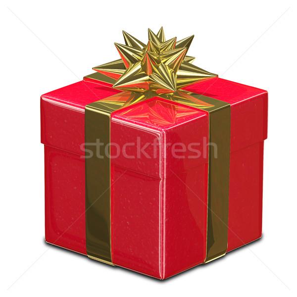 Illustrazione 3d rosso scatola regalo nastro amore Foto d'archivio © brux