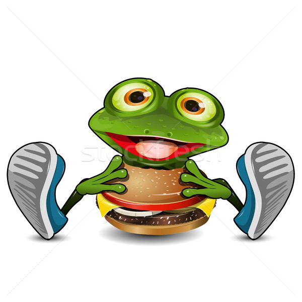 Frog Eats Cheeseburger Stock photo © brux