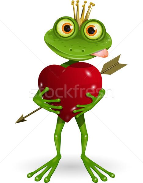 Kikker prinses abstract illustratie hart glimlach Stockfoto © brux