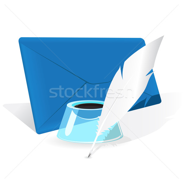 Envelope, feather and inkwell Stock photo © brux