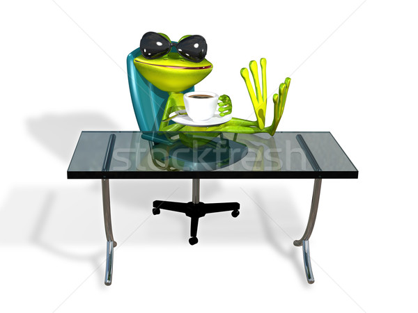 frog at a table with coffee Stock photo © brux