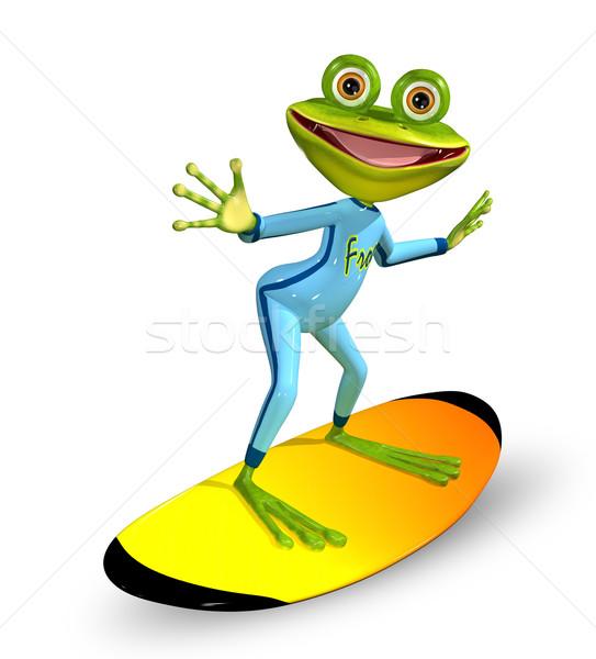 緑 カエル 3次元の図 陽気な サーフボード 笑顔 ストックフォト © brux