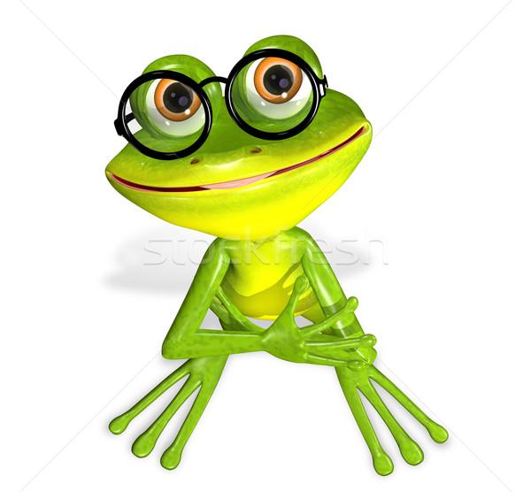 緑 カエル 3次元の図 陽気な 眼鏡 笑顔 ストックフォト © brux