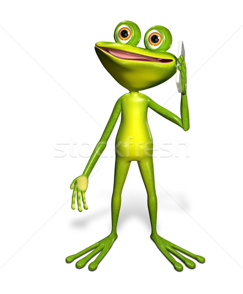 Stock photo: frog with a smartphone