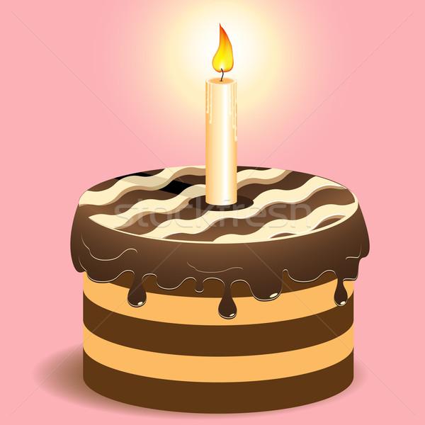 Torta illustrazione brucia candela rosa alimentare Foto d'archivio © brux