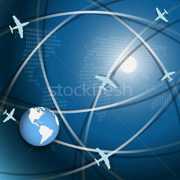 Légi közlekedés illusztráció repülőgép kék földgömb fehér Stock fotó © brux