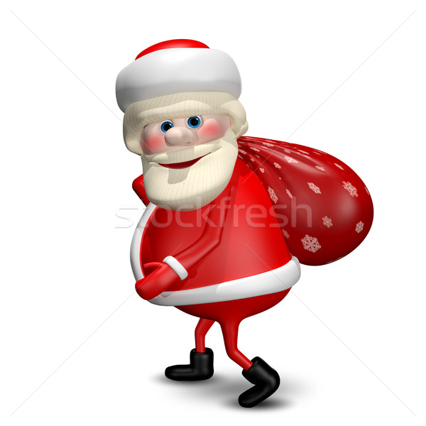3D Illustration of Santa Claus with a Bag Stock photo © brux