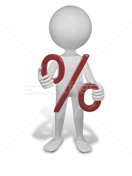 Beyaz adam yüzde örnek soyut kırmızı beyaz Stok fotoğraf © brux