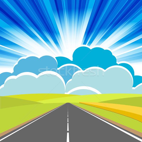 Route illustration longtemps ville ciel bleu ciel Photo stock © brux