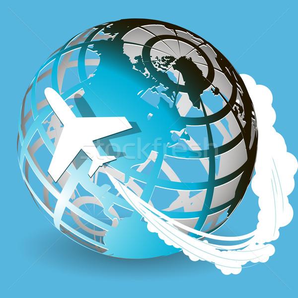 Aviación ilustración avión azul mundo mapa Foto stock © brux