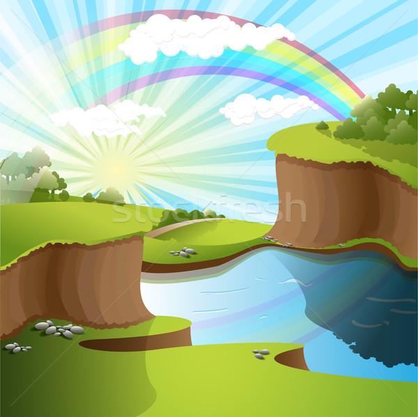 реке радуга иллюстрация пейзаж небе дерево Сток-фото © brux