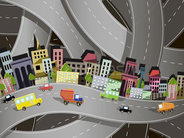 Stock fotó: Város · absztrakt · illusztráció · helyszín · utak · autó