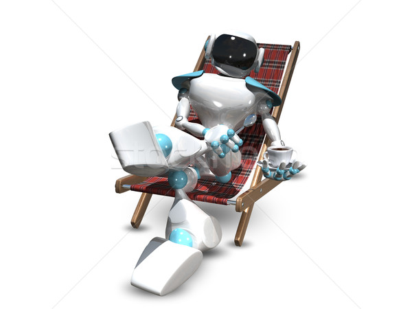3D Illustration of a Robot in a Deckchair Stock photo © brux