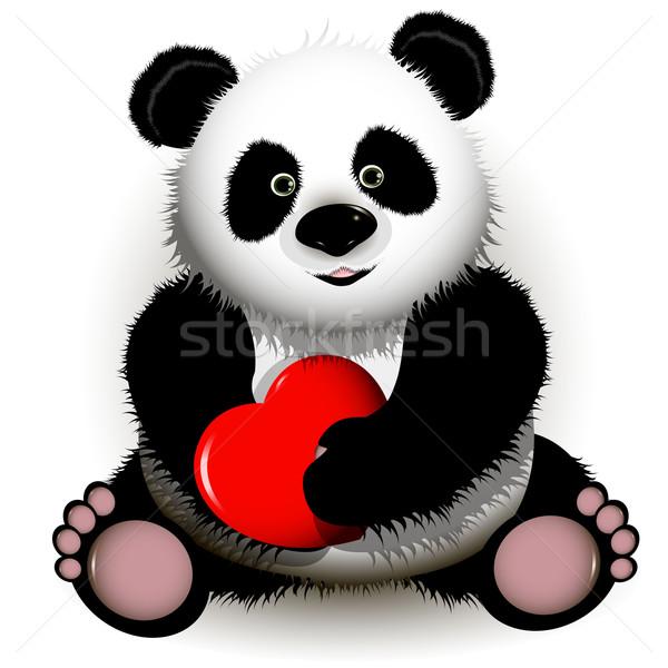 Panda ilustración curioso rojo corazón Foto stock © brux
