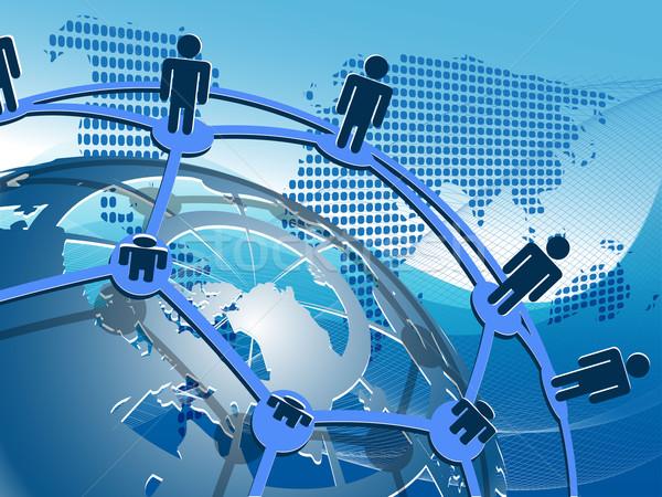 Közösségi háló absztrakt illusztráció emberek hálózat földgömb Stock fotó © brux