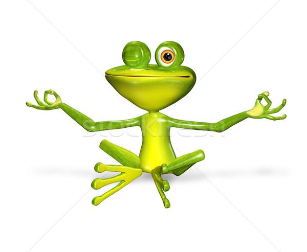 Zöld béka 3d illusztráció vidám nagy szemek mosoly Stock fotó © brux