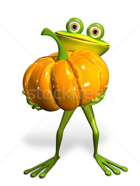 Frog with a pumpkin Stock photo © brux