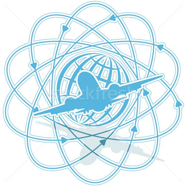 Repülőgép illusztráció kék földgömb fehér térkép Stock fotó © brux