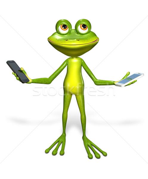 Béka okostelefon absztrakt illusztráció zöld technológia Stock fotó © brux