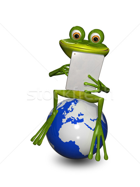 frog on a globe with the tablet Stock photo © brux