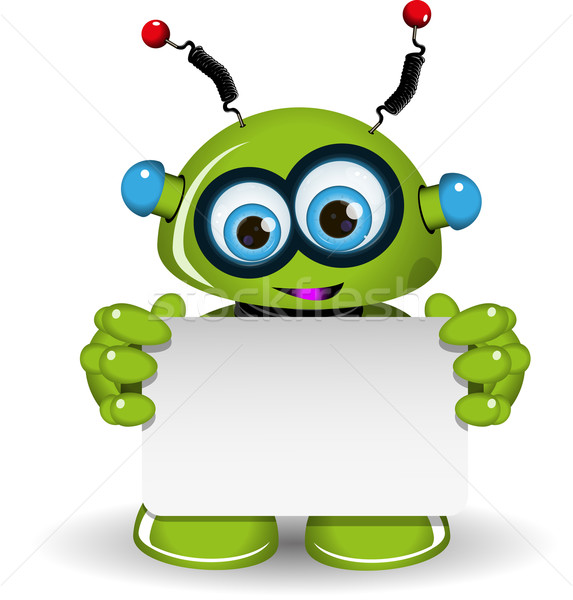 Green Robot And White Background Stock photo © brux