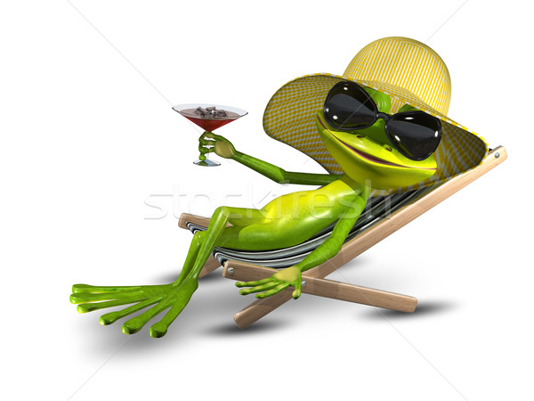 Frog in a hat on a deck chair with a glass Stock photo © brux