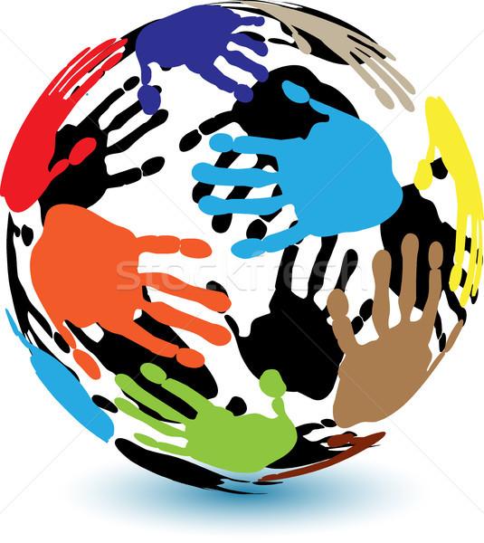 Pálmafák színes illusztráció emberi kéz forma labda Stock fotó © brux