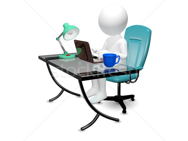 Foto stock: Homem · tabela · 3D · abstrato · ilustração · escritório