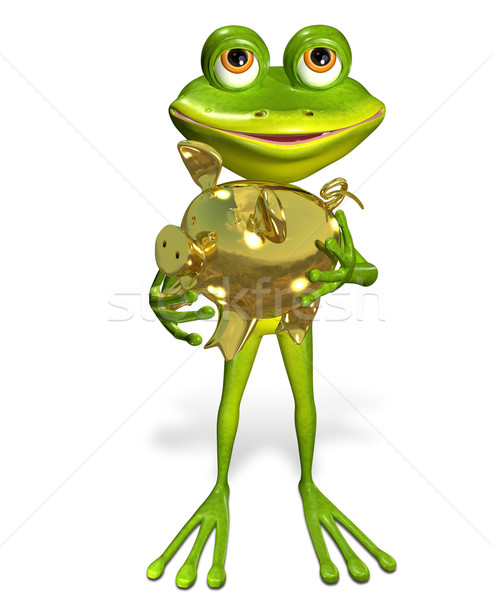 frog with piggy bank Stock photo © brux