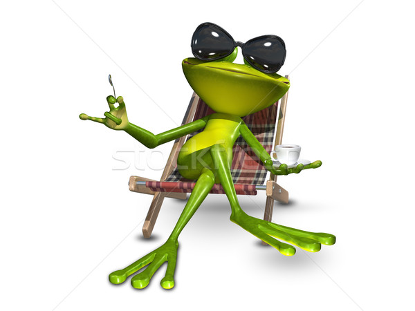3d Illustration frog with a cup of coffee Stock photo © brux