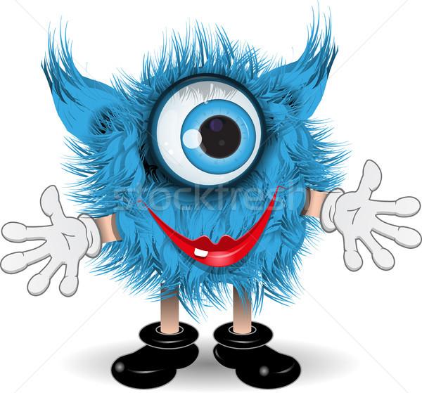 Aranyos szörny illusztráció tündér kócos kék Stock fotó © brux