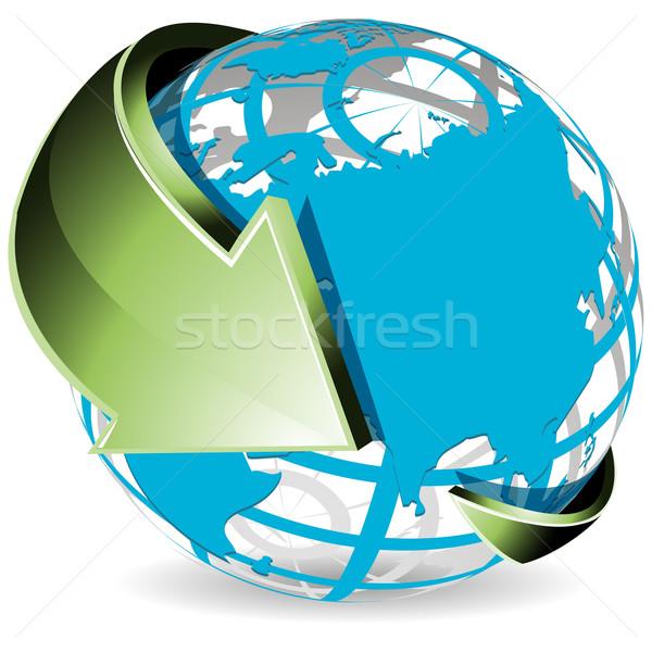 Globo verde seta ilustração abstrato azul Foto stock © brux