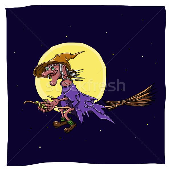 Bruxa cabo de vassoura ilustração assustador céu noturno céu Foto stock © brux